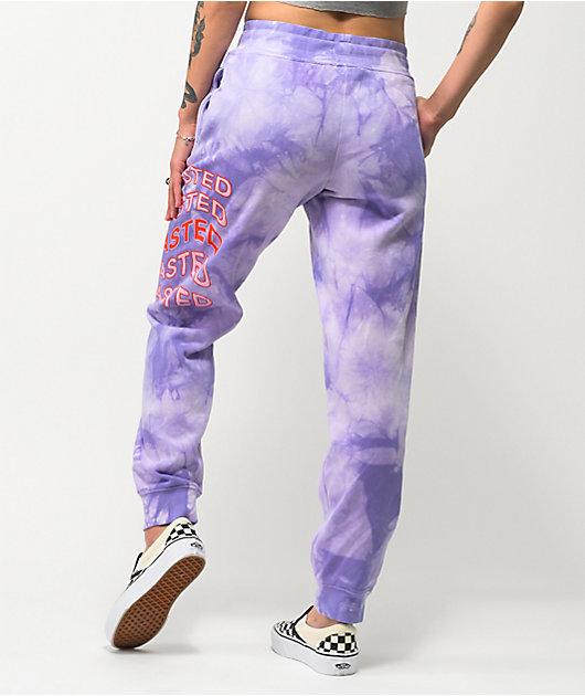 JV by Jac Vanek Wasted Purple Tie Dye Sweatpants