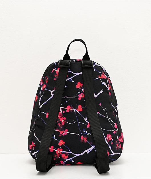 JanSport Half Pint Sakura Delight Black & Pink Mini Backpack