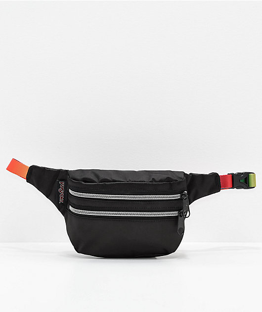 JanSport Hippyland Black & Rainbow Web Fanny Pack