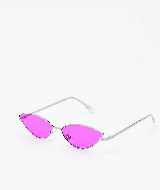 Jenna Dark Pink & Silver Sunglasses