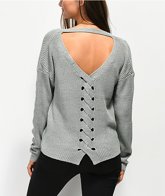 Jolt Lace Back Detail Ice Blue Sweater