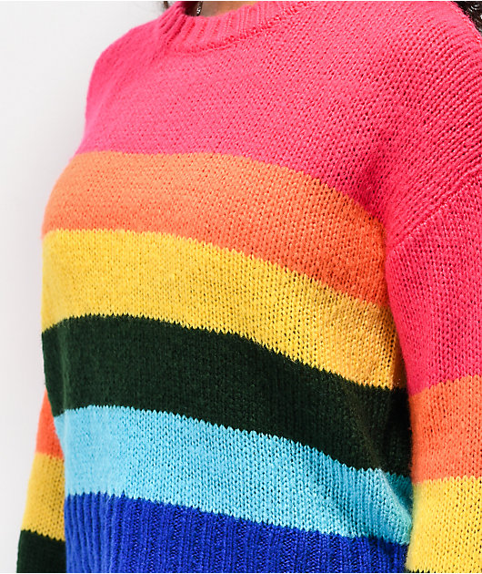 Jolt Stripe Multicolor Crop Sweater