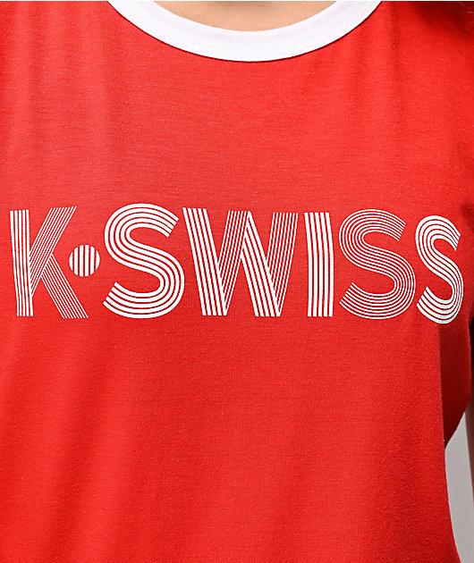 K-Swiss Red Ringer T-Shirt