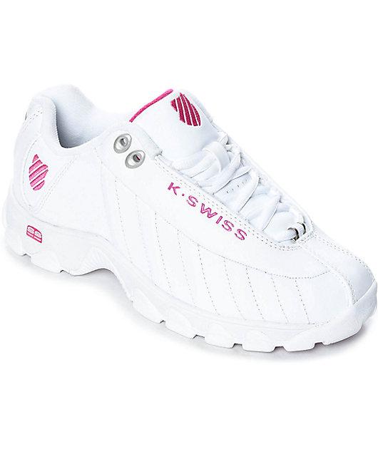 K-Swiss ST329 White \u0026 Shocking Pink