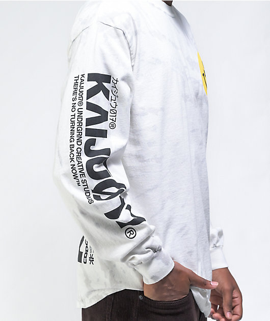 KAIJU017 GIRL017 Light Grey Tie Dye Long Sleeve T-Shirt
