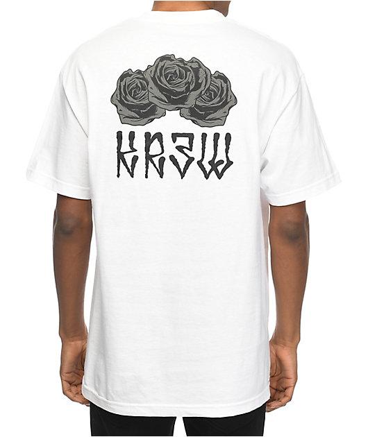 KR3W Black Rose White T-Shirt