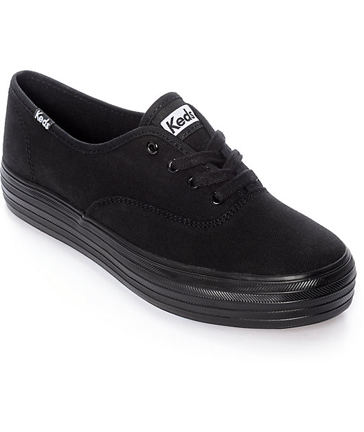 Keds Triple Black Platform Shoes   Zumiez