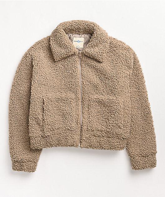 Khaki & Blue Taupe Sherpa Zip Jacket