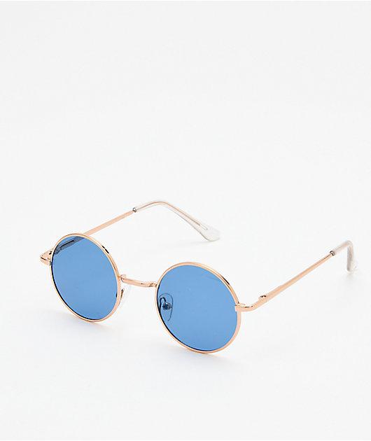 Kid Navy & Gold Round Sunglasses