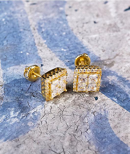 King Ice 14K Gold Layered CZ Earrings