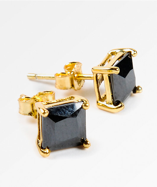 King Ice 6mm Gold & Black Princess Cut Earrings