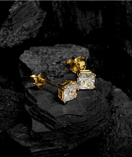 King Ice 6mm Gold & Clear Princess Cut Earrings