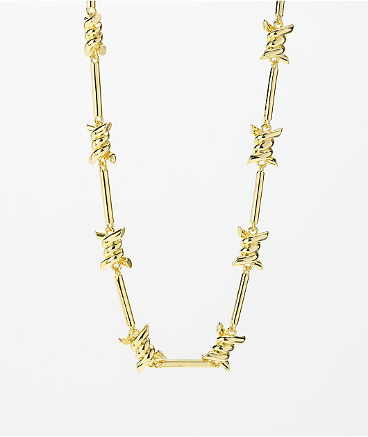 King Ice Barbed Wire Chain Yellow Gold Necklace