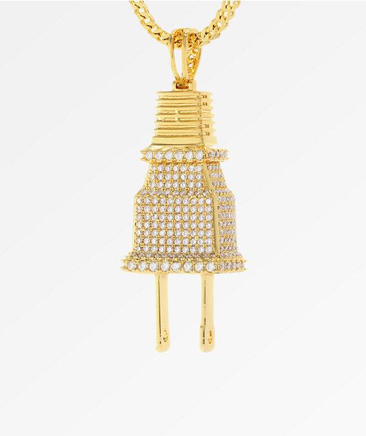 King Ice CZ Gold Plug collar