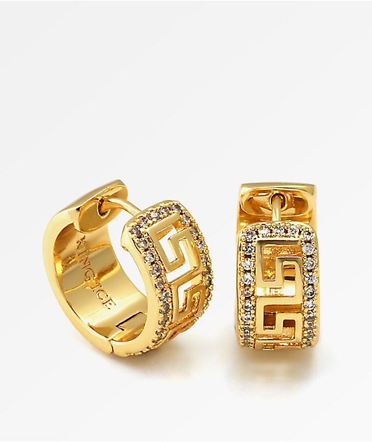 King Ice CZ Greek Key Gold Hoop Earrings