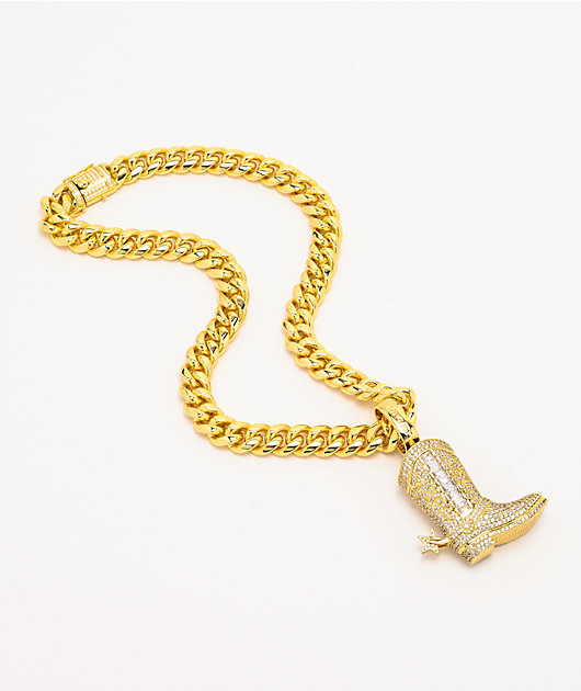 King Ice Cowboy Boot XL Yellow Gold Chain Necklace