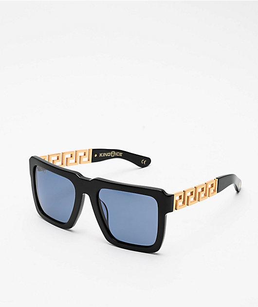 King Ice Greek Key Glossy Black & Blue Polarized Sunglasses