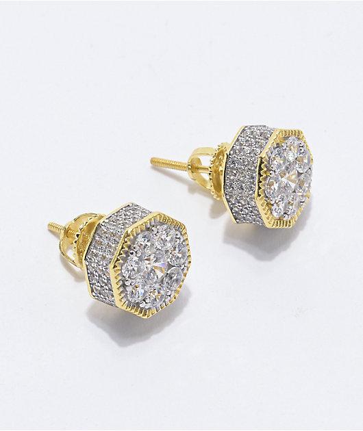 King Ice Hexagon Gold Stud Earrings