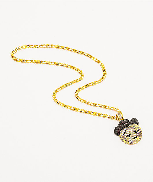King Ice Sad Cowboy Gold Chain Necklace