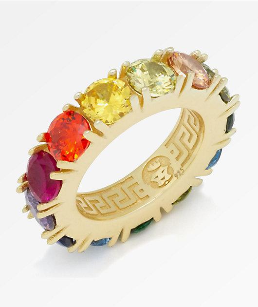 King Ice Single Row Rainbow Gold Ring