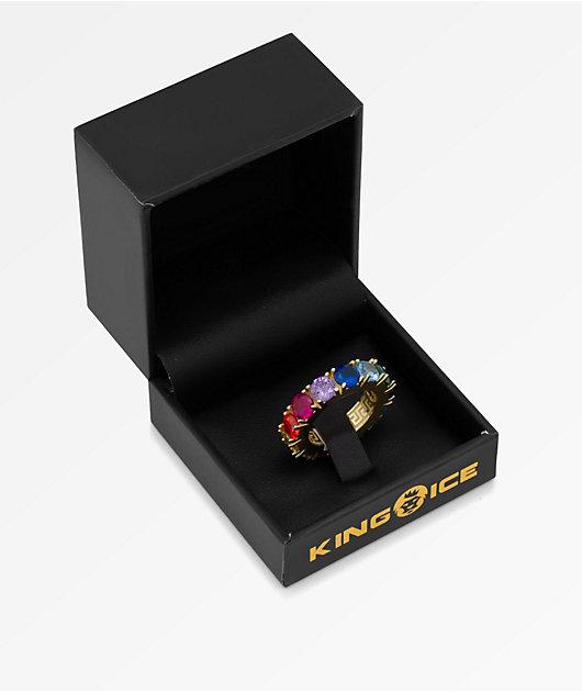 King Ice Single Row anillo arcoiris de oro