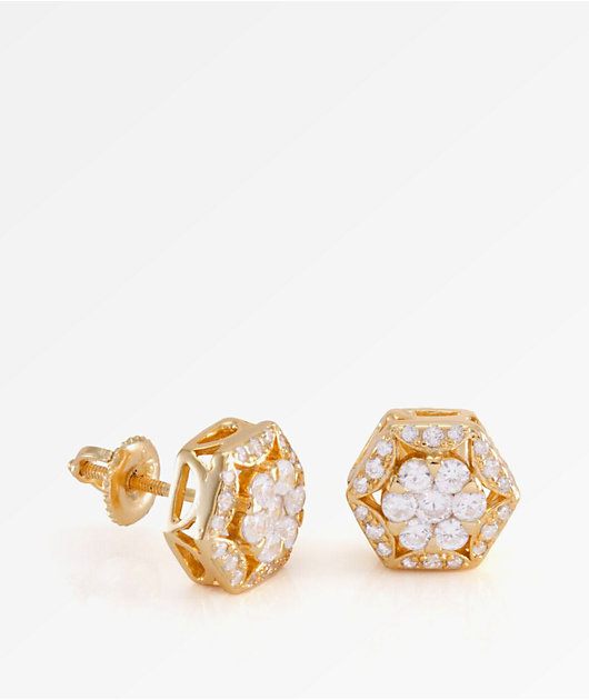 King Ice The Hex Gold Earrings