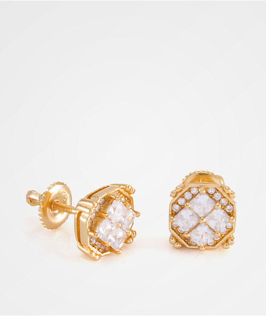 King Ice The Quad Gold Earrings