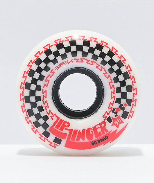 Krooked Zip Zinger 56mm 80a White & Red Skateboard Wheels