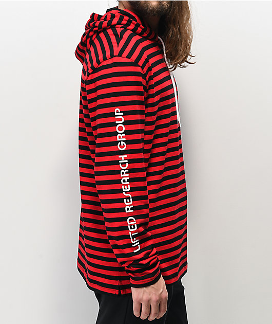 LRG Dip In Red & Black Hooded Long Sleeve T-Shirt