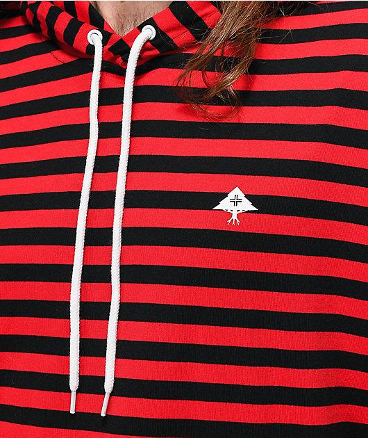 LRG Dip In camiseta de manga larga con capucha roja y negra
