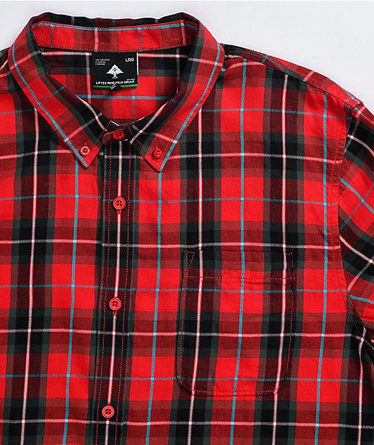 LRG Duration Red & Black Long Sleeve Button Up Shirt