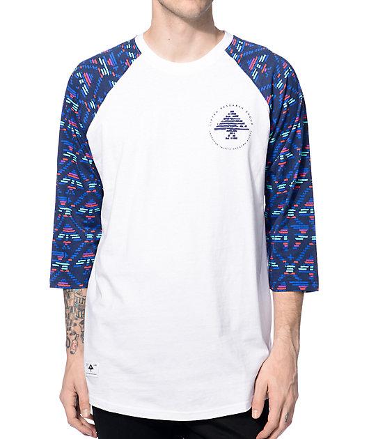 LRG Scribe White & Navy Baseball T-Shirt