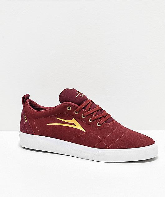 Lakai Bristol Burgundy & Gold Suede Skate Shoes