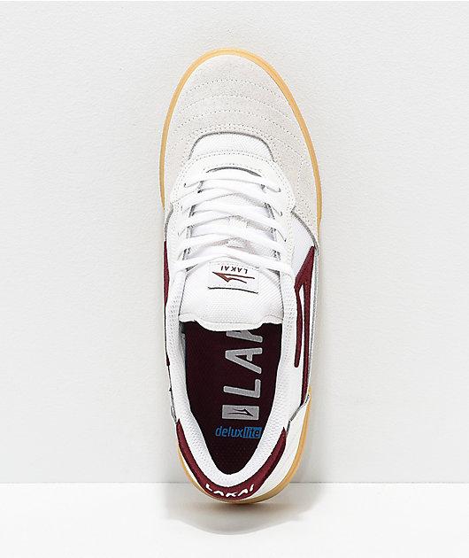 Lakai Cambridge White, Burgundy & Gum Skate Shoes