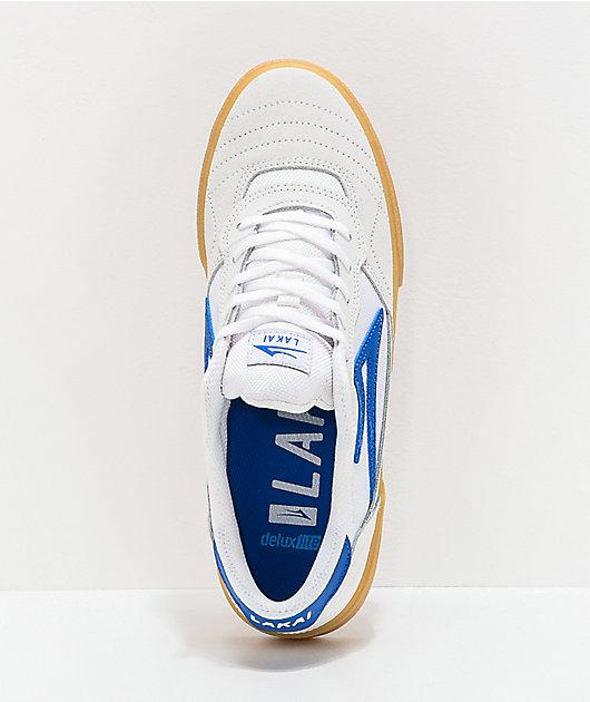 Lakai Cambridge White & Blue Suede Skate Shoes