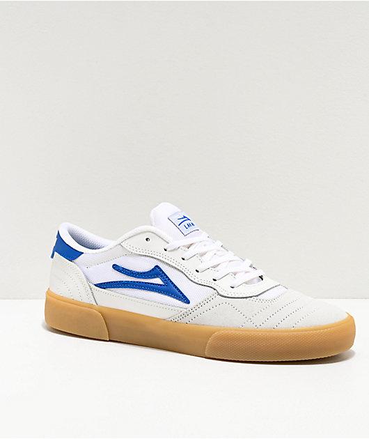 Lakai Cambridge zapatos de skate de ante blanco y azul