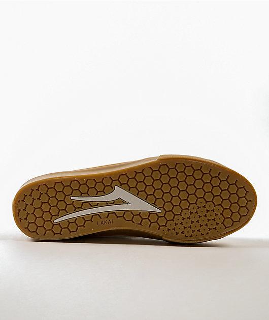 Lakai Flaco II Mid White & Gum Suede Skate Shoes