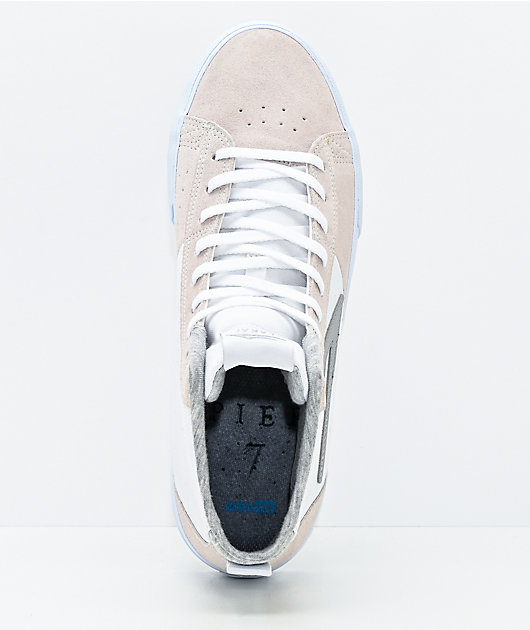 Lakai Newport Hi White, Grey & Natural Suede Skate Shoes