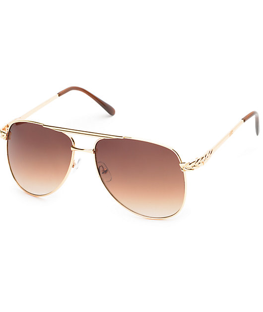 Light Brown Aviator Sunglasses