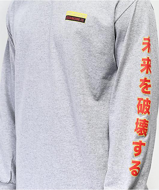 Loser Machine Black Cat Grey Long Sleeve T-Shirt