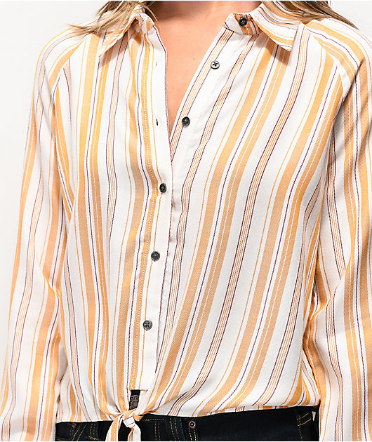 Love, Fire camisa de manga larga amarilla de rayas