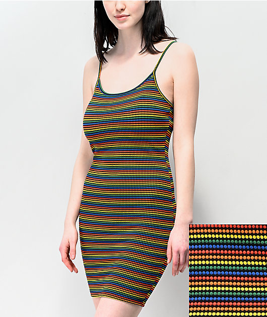 Lunachix Black & Rainbow Striped Tank Top Bodycon Dress