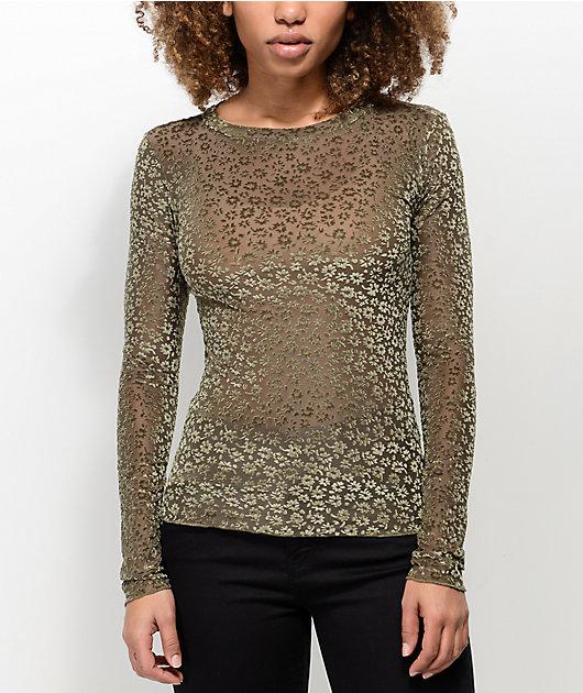 Lunachix Floral Velvet & Mesh Olive Long Sleeve Top