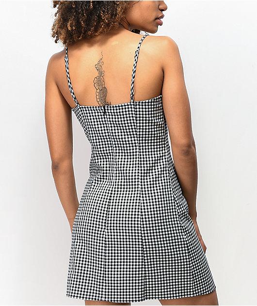 Lunachix Gingham Button Tank Dress