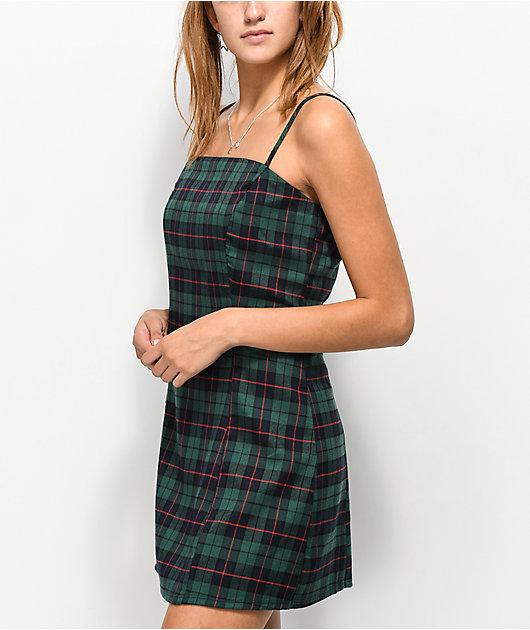 Lunachix Green Plaid Mini Dress