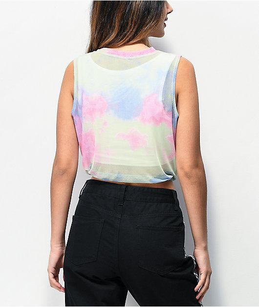 Lunachix Mesh Tie Dye Crop Tank Top