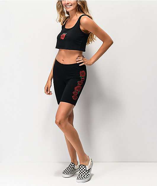 Lunachix shorts negros con rosas rojas