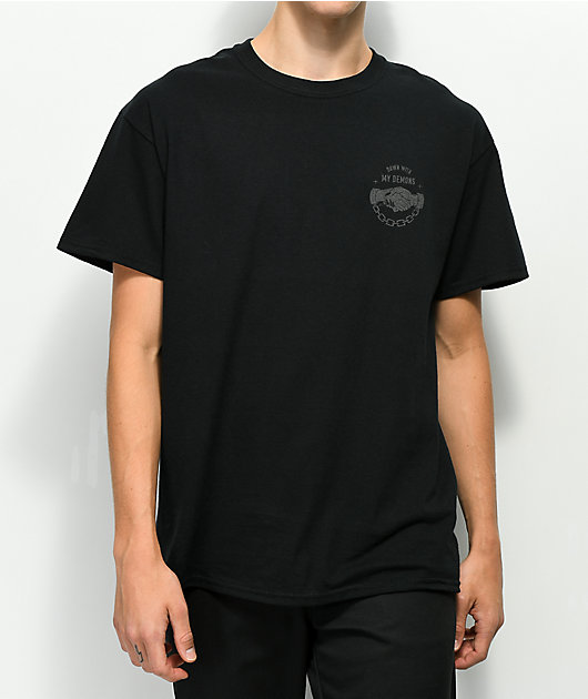 Lurking Class By Sketchy Tank Demons Reflective Black T-Shirt