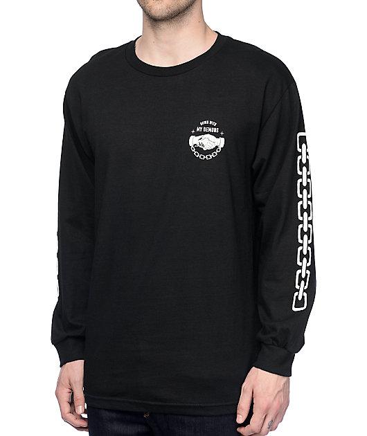 Lurking Class By Sketchy Tank Down Black Long Sleeve T-Shirt