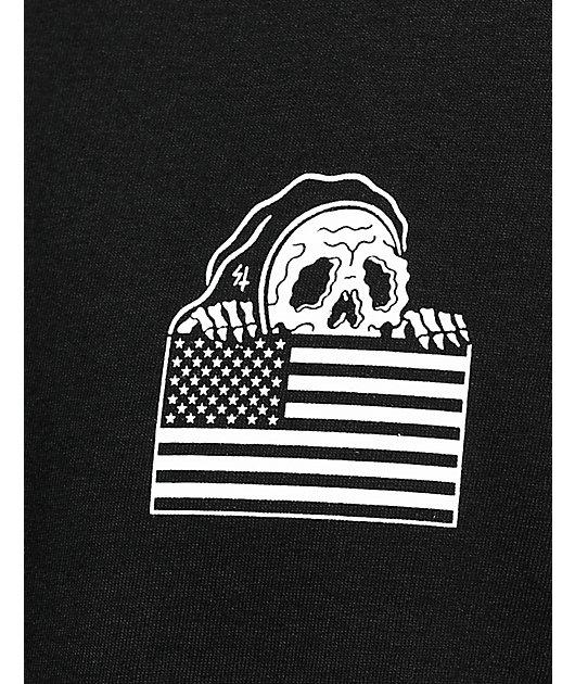 Lurking Class By Sketchy Tank Flag Black T-Shirt